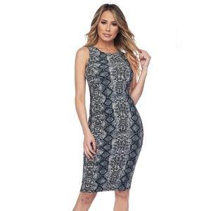 NEW Silver Python Print Bodycon Dress